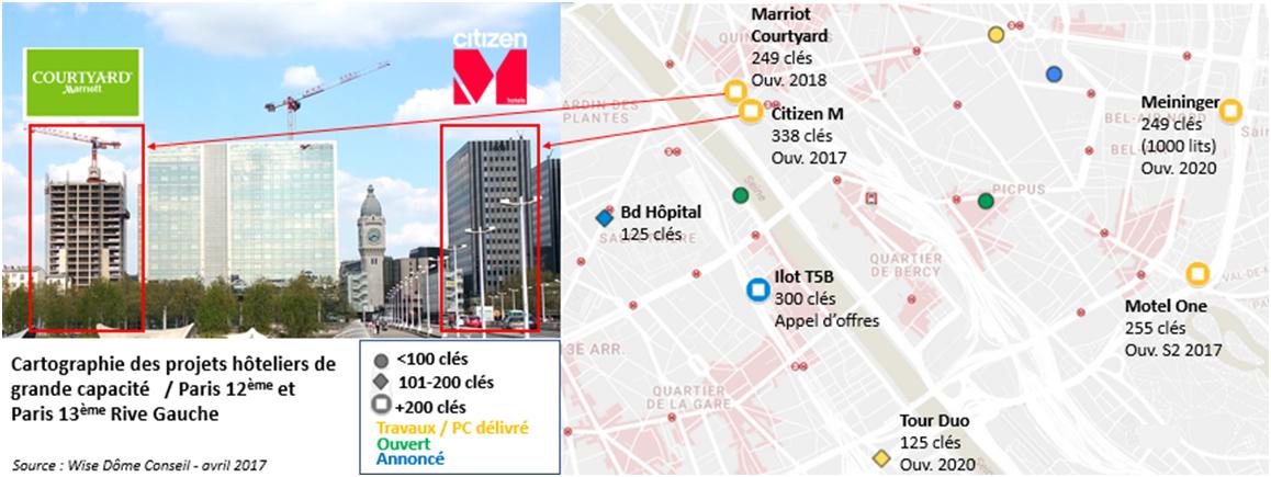 Cartographie des projets hoteliers parisiens