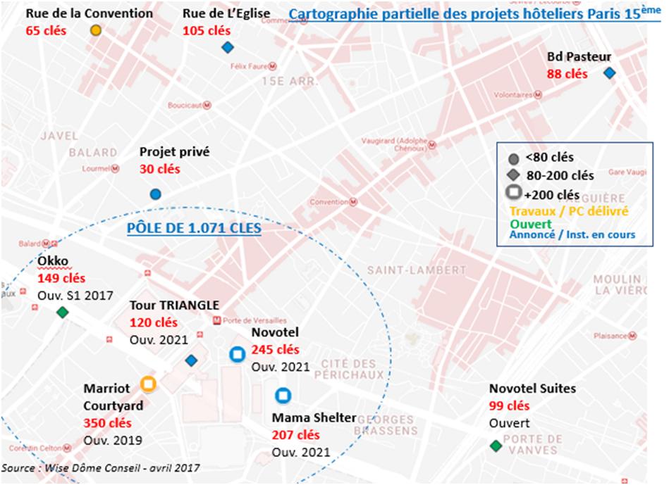 Cartographie des projets hoteliers Paris 15e